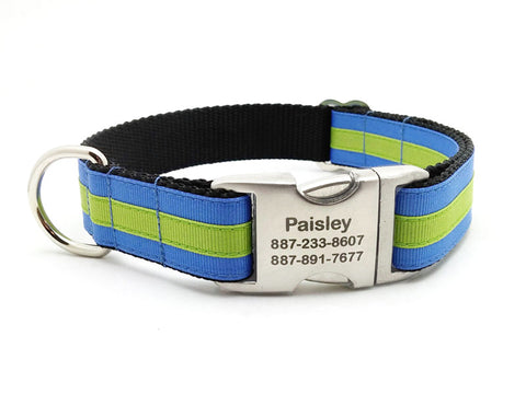 Layered Stripe Dog Collar with Laser Engraved Personalized Buckle - CAPRI BLUE/APPLE GREEN