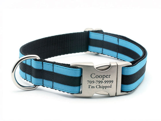 Layered Stripe Dog Collar with Laser Engraved Personalized Buckle - COLUMBIA BLUE/BLACK