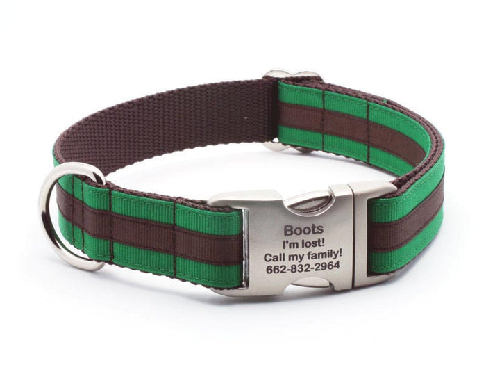Layered Stripe Dog Collar with Laser Engraved Personalized Buckle - EMERALD/CHOCOLATE