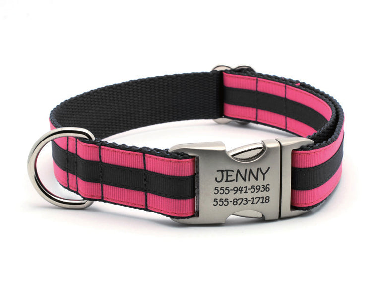 Layered Stripe Dog Collar with Laser Engraved Personalized Buckle - HOT PINK/BLACK