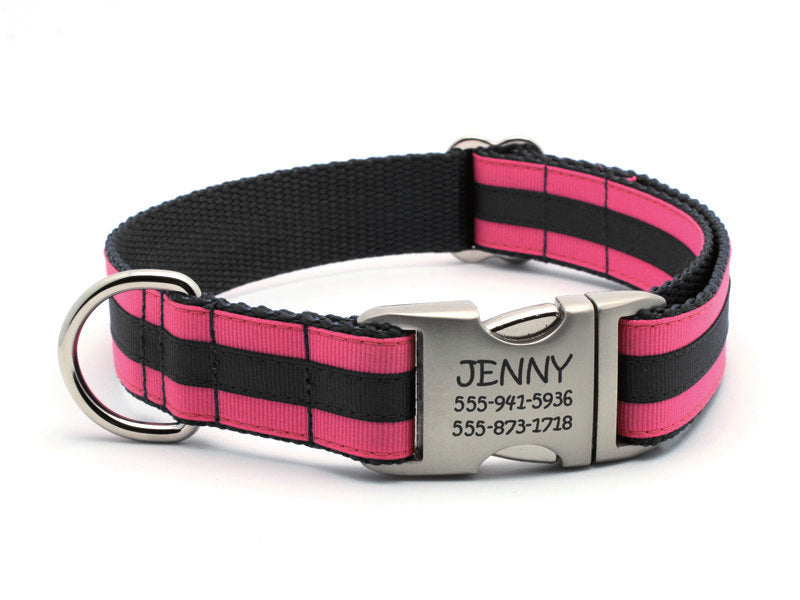 Layered Stripe Dog Collar with Laser Engraved Personalized Buckle - HOT PINK/BLACK - Flying Dog Collars