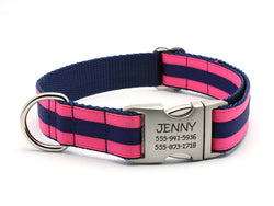 Layered Stripe Dog Collar with Laser Engraved Personalized Buckle - HOT PINK/NAVY - Flying Dog Collars