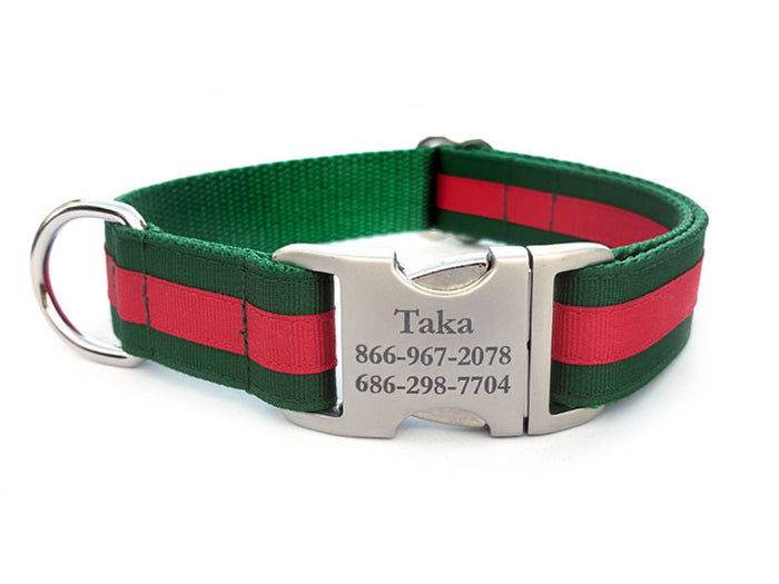 Layered Stripe Dog Collar with Laser Engraved Personalized Buckle - FOREST GREEN/RED