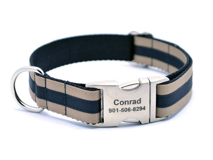 Layered Stripe Dog Collar with Laser Engraved Personalized Buckle - KHAKI/BLACK