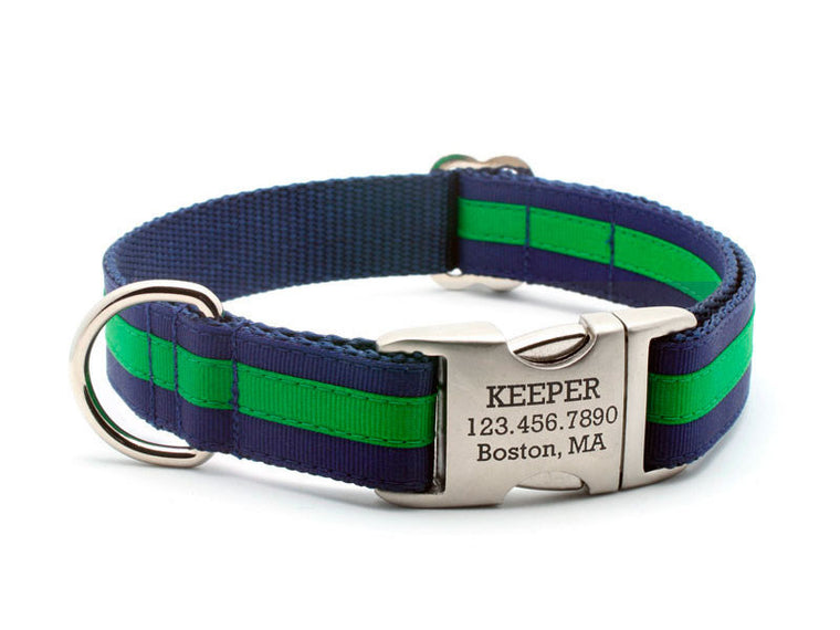 Layered Stripe Dog Collar with Laser Engraved Personalized Buckle - NAVY/EMERALD