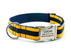 Layered Stripe Dog Collar with Laser Engraved Personalized Buckle - NAVY/YELLOW GOLD - Flying Dog Collars