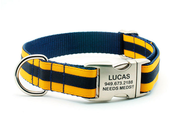 Layered Stripe Dog Collar with Laser Engraved Personalized Buckle - NAVY/YELLOW GOLD