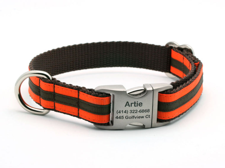 Layered Stripe Dog Collar with Laser Engraved Personalized Buckle - ORANGE/CHOCOLATE