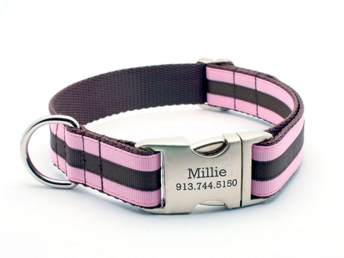 Layered Stripe Dog Collar with Laser Engraved Personalized Buckle - PINK/CHOCOLATE
