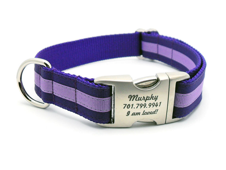 Layered Stripe Dog Collar with Laser Engraved Personalized Buckle - PURPLE/LILAC