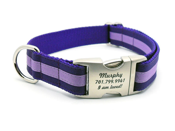Layered Stripe Dog Collar with Laser Engraved Personalized Buckle - PURPLE/LILAC - Flying Dog Collars