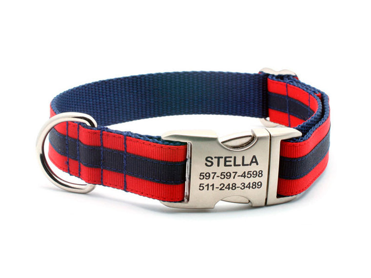 Layered Stripe Dog Collar with Laser Engraved Personalized Buckle - RED/NAVY