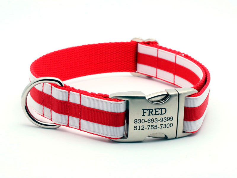 Layered Stripe Dog Collar with Laser Engraved Personalized Buckle - RED/WHITE - Flying Dog Collars