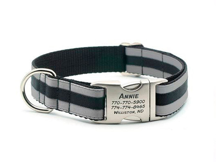 Layered Stripe Dog Collar with Laser Engraved Personalized Buckle - SILVER/BLACK