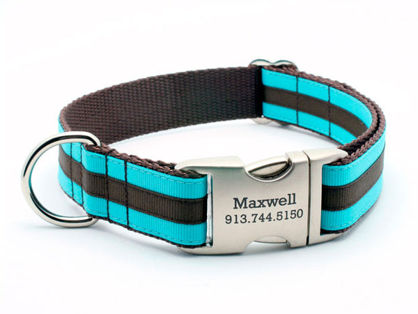 Layered Stripe Dog Collar with Laser Engraved Personalized Buckle - TURQUOISE/CHOCOLATE - Flying Dog Collars