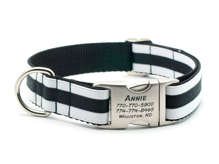 Layered Stripe Dog Collar with Laser Engraved Personalized Buckle - WHITE/BLACK