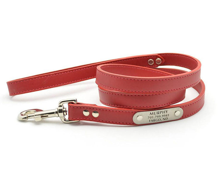 Leather Dog Leash with Personalized Nameplate