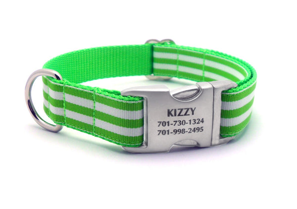 Cabana Stripe Dog Collar with Laser Engraved Personalized Buckle - LIME - Flying Dog Collars