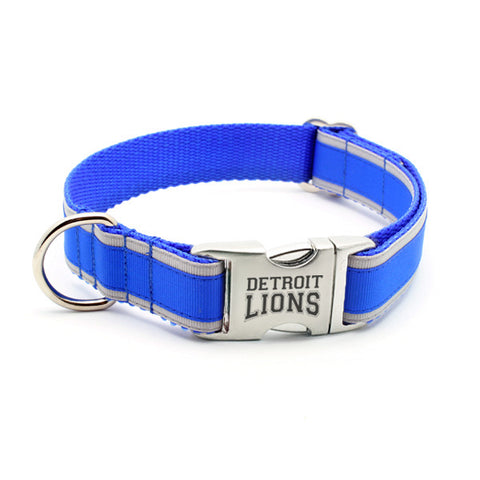 Detroit Lions Dog Collar with Laser Etched Aluminum Buckle - Flying Dog Collars