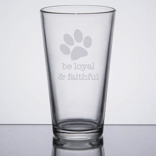 Dog Wisdom 16oz Beer Pint Glasses - Set of Four - Flying Dog Collars