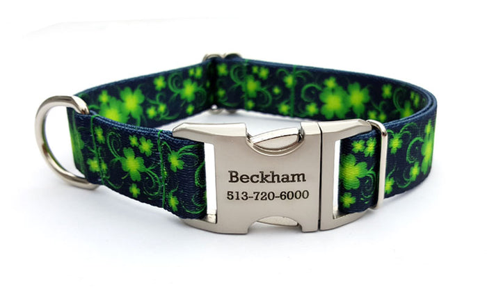 Lucky Clovers Polyester Webbing Dog Collar with Laser Engraved Personalized Buckle