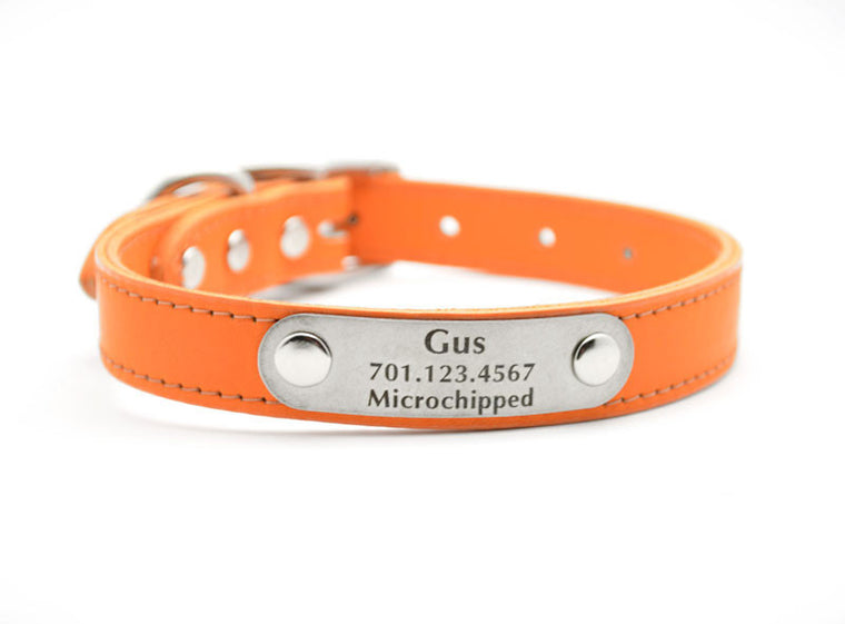 Leather Dog Collar with Laser Engraved Personalized Nameplate - MANDARIN