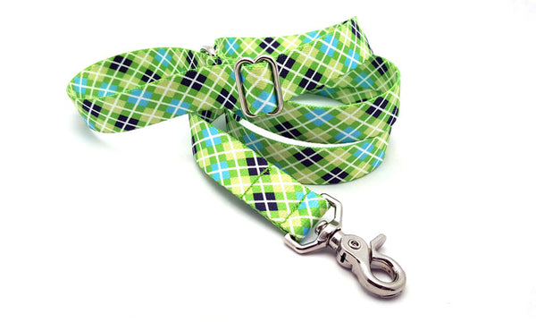 Margarita Argyle & Daisies Polyester Adjustable Handle Leash