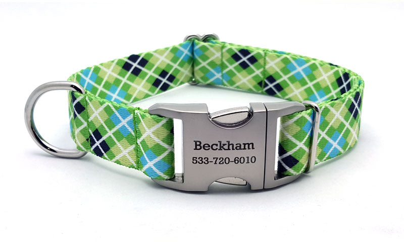 Margarita Argyle Polyester Webbing Dog Collar with Laser Engraved Personalized Buckle - Flying Dog Collars