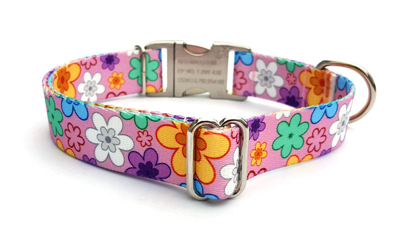May Flowers Polyester Webbing Dog Collar with Laser Engraved Personalized Buckle - Flying Dog Collars