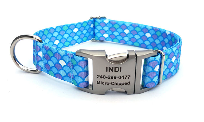 Mermaid Scales Polyester Webbing Dog Collar with Laser Engraved Personalized Buckle