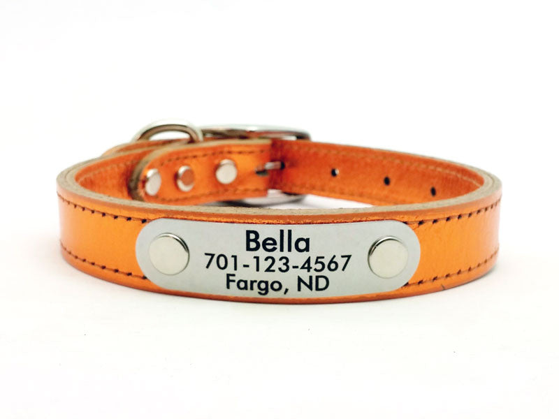 METALLIC Leather Dog Collar with Personalized Nameplate - 11 Colors