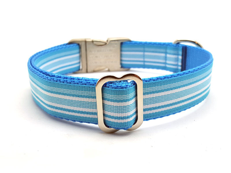 Miami Waves Dog Collar with Laser Engraved Personalized Buckle