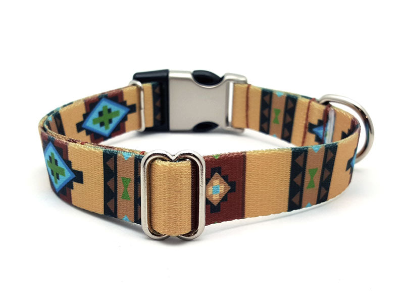 Native Southwestern Polyester Webbing Dog Collar with Laser Engraved Personalized Buckle - Flying Dog Collars