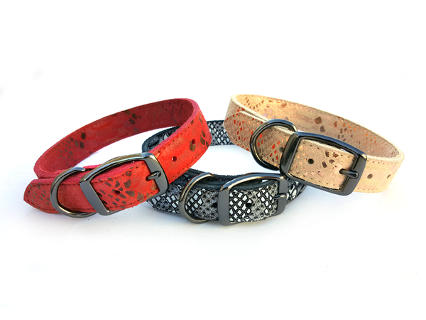 Native Print Leather Dog Collar with Laser Engraved Personalized Nameplate - Flying Dog Collars