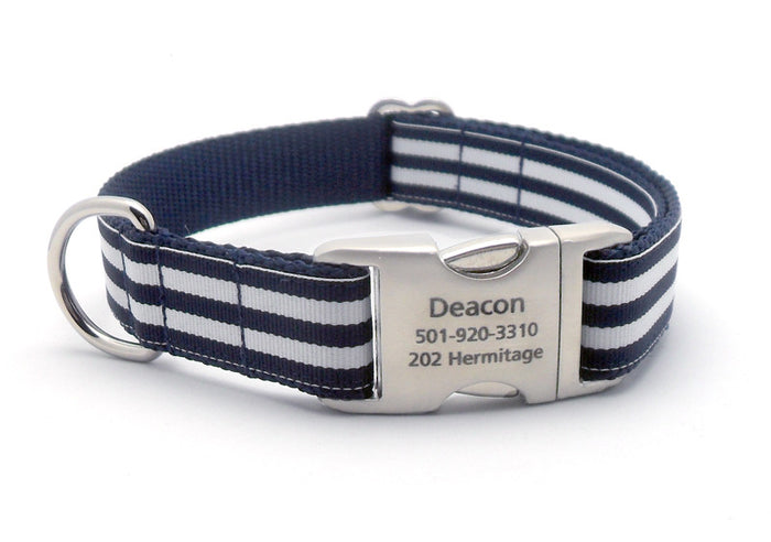 Cabana Stripe Dog Collar with Laser Engraved Personalized Buckle - NAVY - Flying Dog Collars