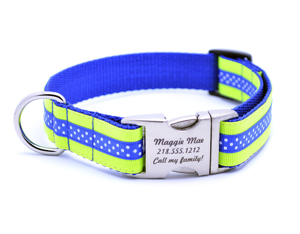 Neon Yellow/Royal Blue Mini Polka Dot Dog Collar with Laser Engraved Personalized Buckle