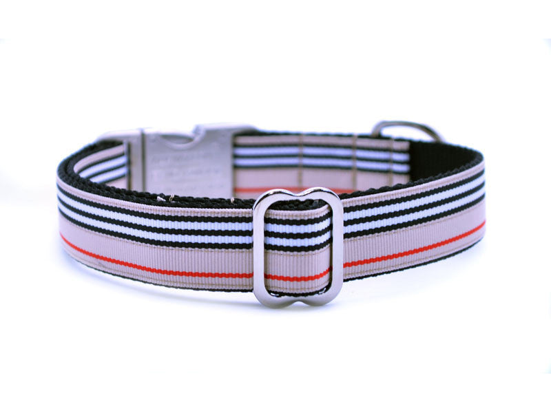 Soho Stripe Dog Collar with Laser Engraved Personalized Buckle