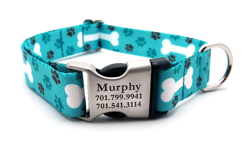 OH MY DOG Polyester Webbing Dog Collar with Laser Engraved Personalized Buckle