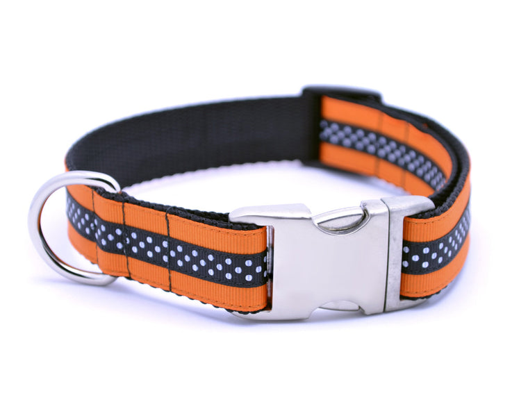 Mini Polka Dot with Plain Buckle - ORANGE/BLACK