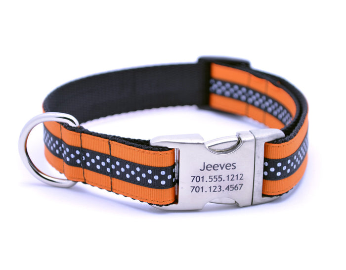 Orange/Black Mini Polka Dot Dog Collar with Laser Engraved Personalized Buckle