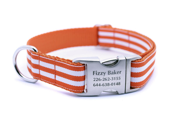Cabana Stripe Dog Collar with Laser Engraved Personalized Buckle - ORANGE - Flying Dog Collars