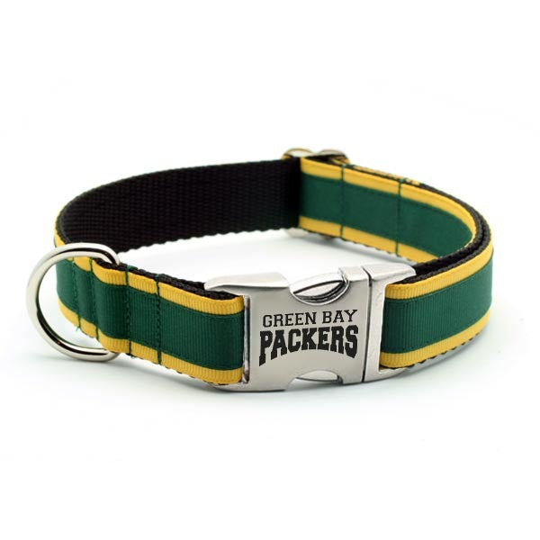 Green Bay Packers Dog Collar with Laser Etched Aluminum Buckle - Flying Dog Collars