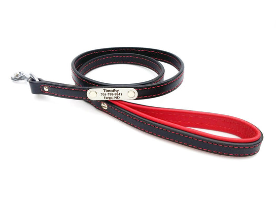 Padded Handle Leather Leash with Laser Engraved Nameplate