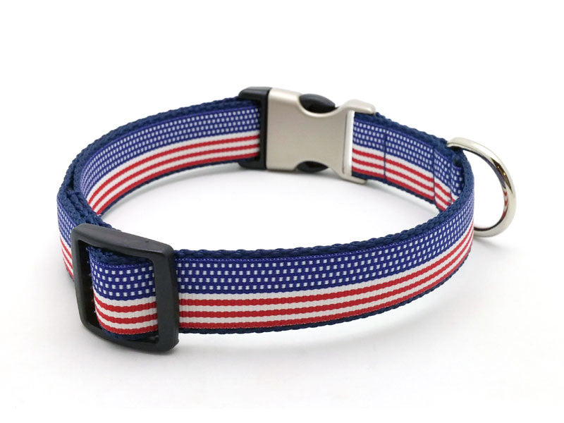 The Patriot Dog Collar with Laser Engraved Personalized Buckle