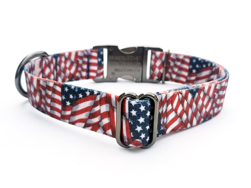 Patriotic Tribute Polyester Webbing Dog Collar with Laser Engraved Personalized Buckle - Flying Dog Collars