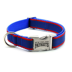 New England Patriots Dog Collar with Laser Etched Aluminum Buckle - Flying Dog Collars