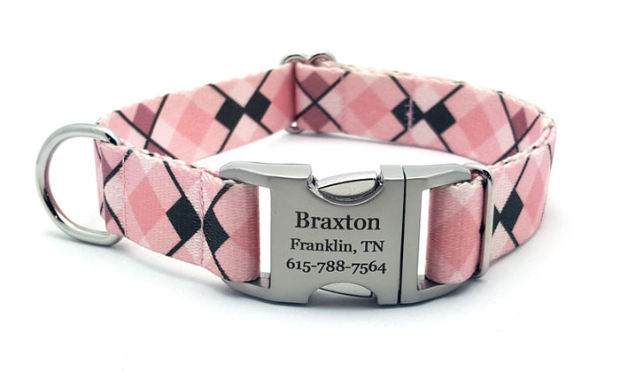 Pink Argyle Polyester Webbing Dog Collar with Laser Engraved Personalized Buckle