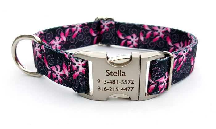 Pink Honeysuckles Polyester Webbing Dog Collar with Laser Engraved Personalized Buckle
