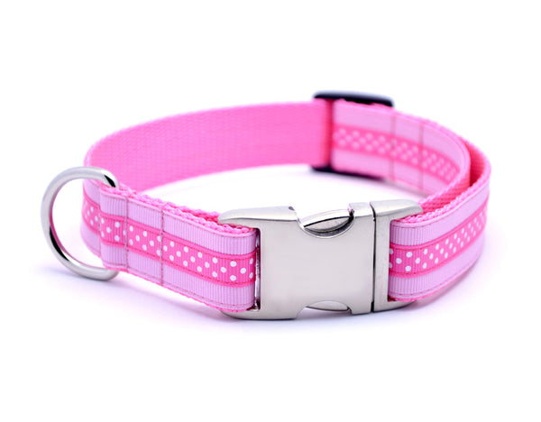 Mini Polka Dot with Plain Buckle - PINK/HOT PINK - Flying Dog Collars