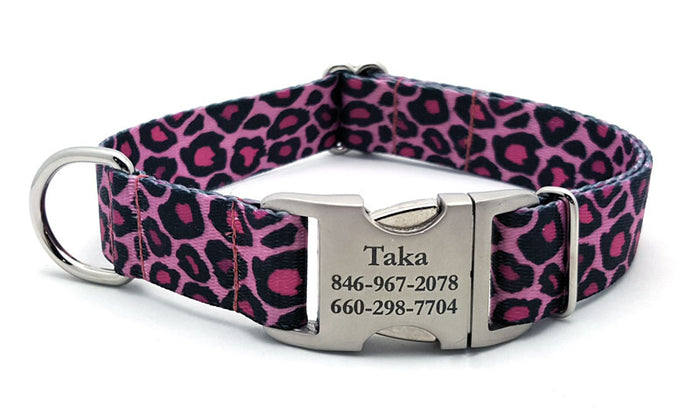Pink Leopard Polyester Webbing Dog Collar with Laser Engraved Personalized Buckle